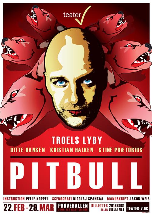 En mand / pitbull bliver fortæret af forstadsangst hos Teater V